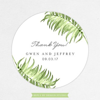 Custom Made Palm Tree Watercolor Favor Label