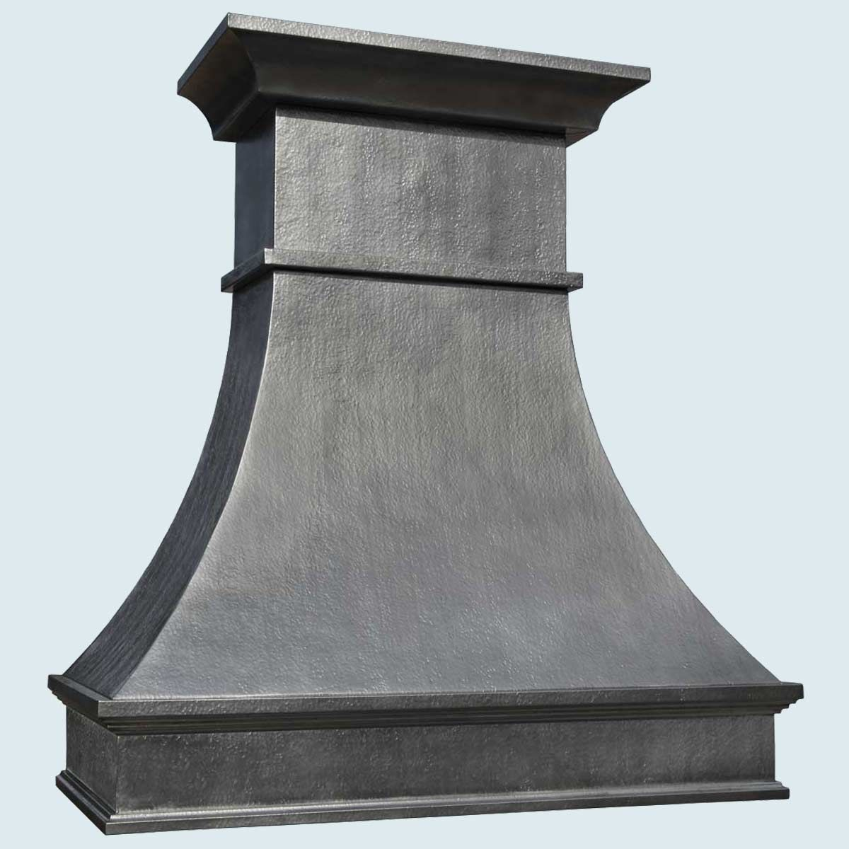 Custom Range Hoods ~ Hand crafted zinc range hood with french mantle band by