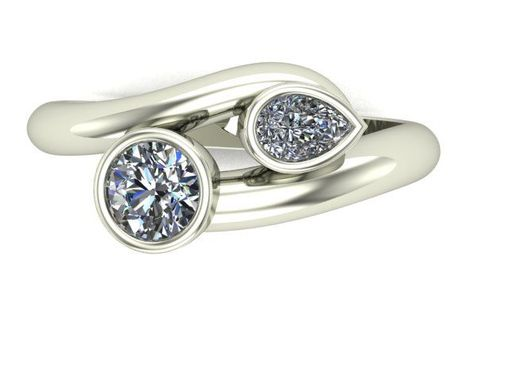 Custom Made Two Stone Bypass Curvy Palladium Engagement Or Mothers Ring
