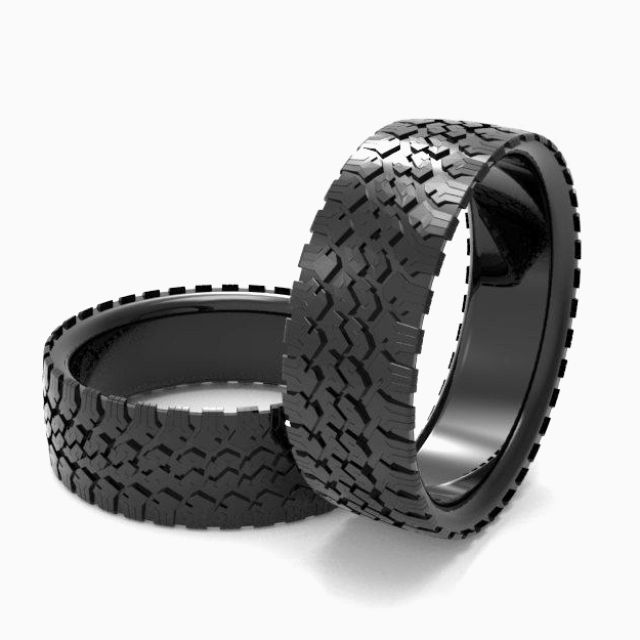 A Hand Made Mens Tire Wedding Band Black Silver Ring Tread To Order From Designmax Custommade