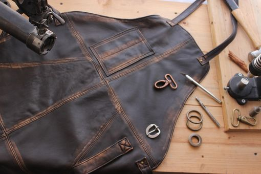 Custom Made 10w1up Leather Apron Distressed Brown - Custom-Made Personalized Name Initials