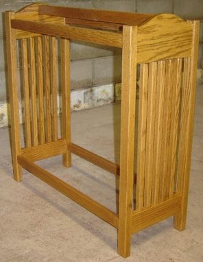 Custom Made New Solid Red Oak Wood Mission Style Quilt Rack Stand | Blanket Stand