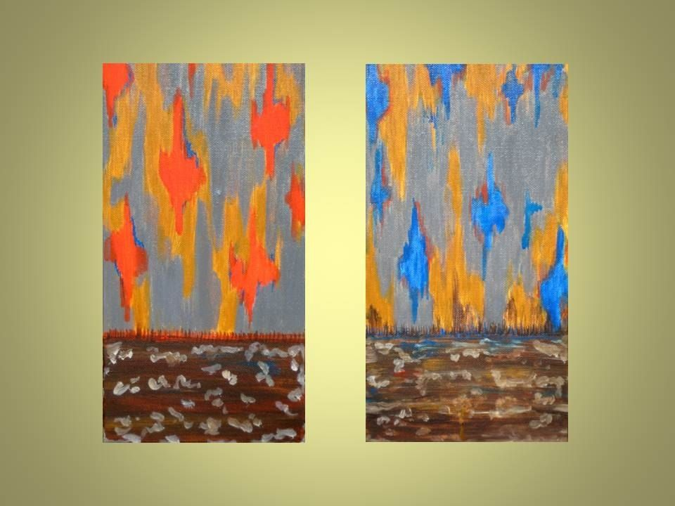 Hand Crafted Ikat Original Abstract Painting - 6\