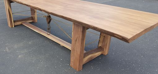 Custom Made Rope & Pulley, Walnut Dining Table