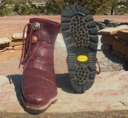 Custom Made Custom Fitted Burgundy Aligator Skin Boots Lined With Buffalo Leather