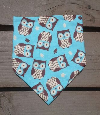 Custom Made Aqua Blue Owl Bandana Bib For Baby