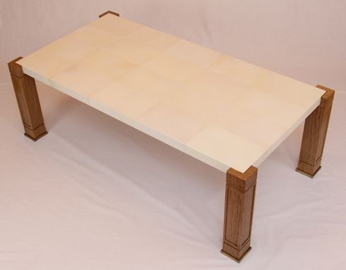 Custom Made Parchment,Oak And Brass Coffee Table