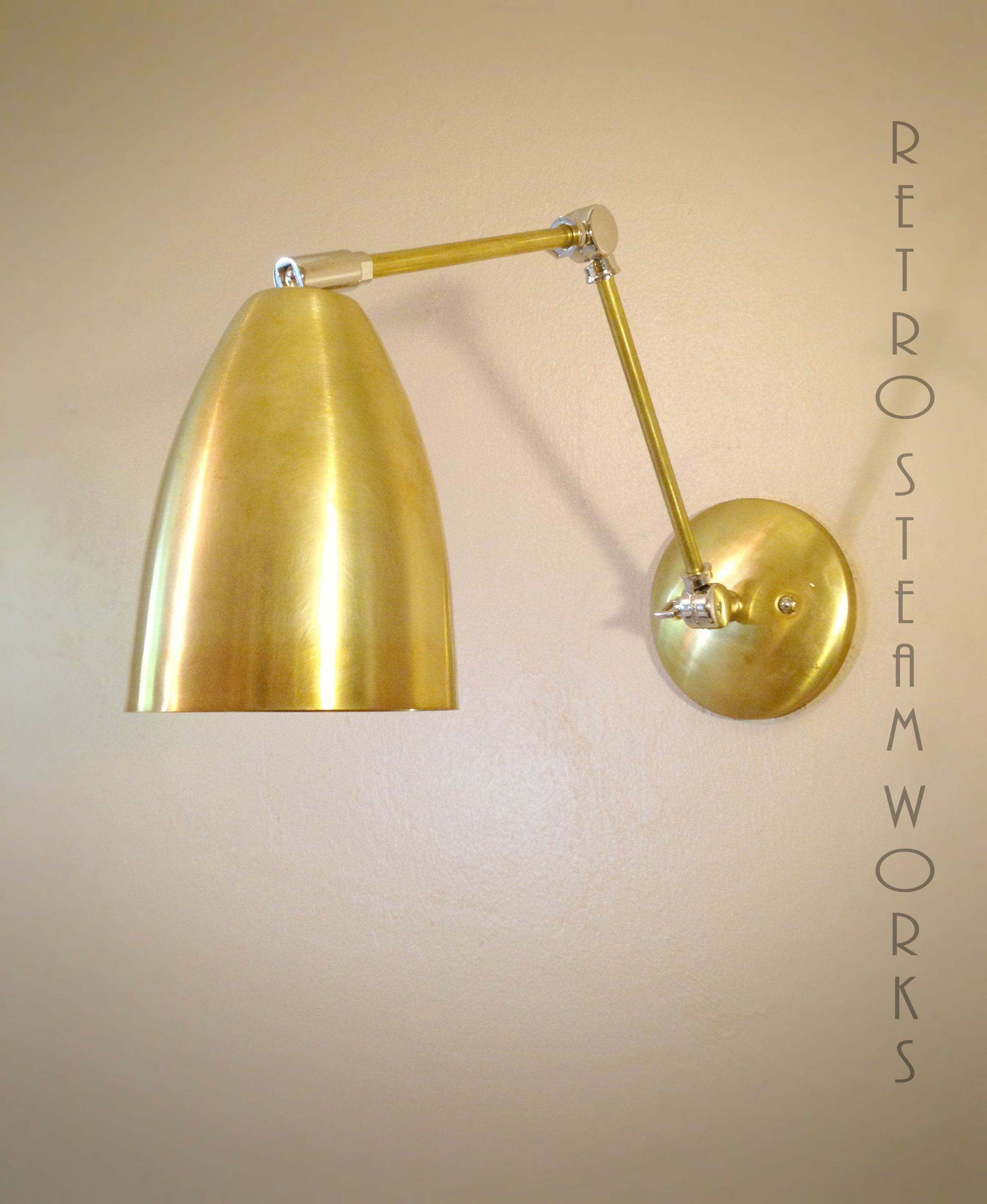 Hand made adjustable articulating wall mount art light brass and custom made adjustable articulating wall mount art light brass and nickel loft gallery sconce arubaitofo Choice Image