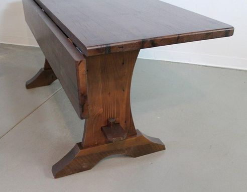 Custom Made Custom Drop Leaf Trestle Base  Dining Room Table
