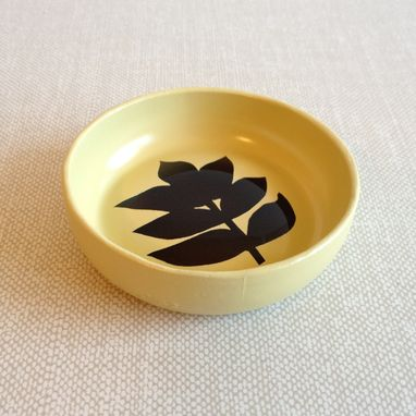 Custom Made Wheat Ring Holder, Glass Jewelry Dish, Recycled Glass, Yellow And Brown