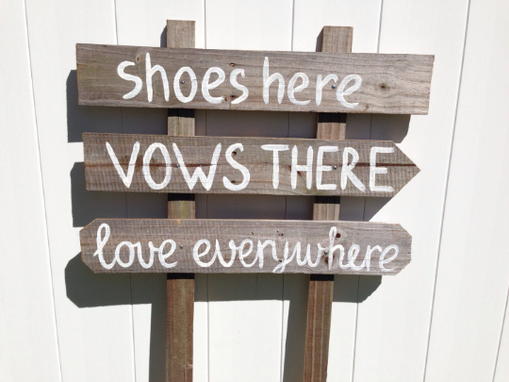 Custom Made Shoes Here Love Everywhere Rustic Beach Sign, Wedding Beach Decor