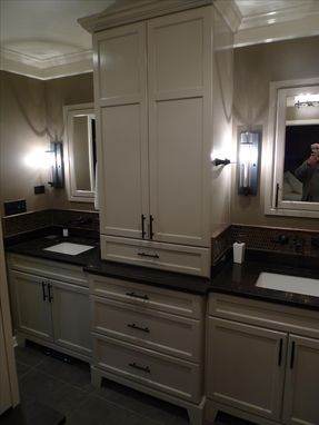 Custom Made Master Bathroom Vanity And Hutch