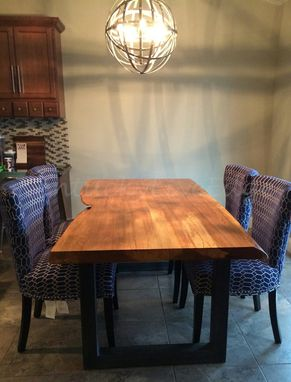 Custom Made Elm Live Edge Dining Table Steel Bases Sustainable Wood Slab