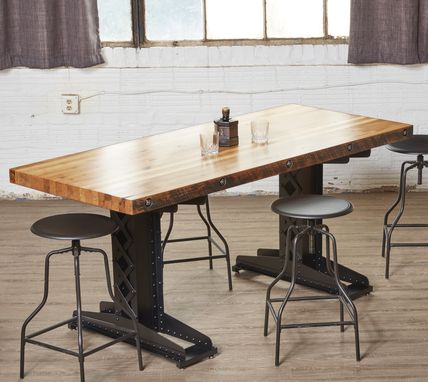 Custom Made Industrial Theme Hot Riveted Railroad Trestle Conference Table
