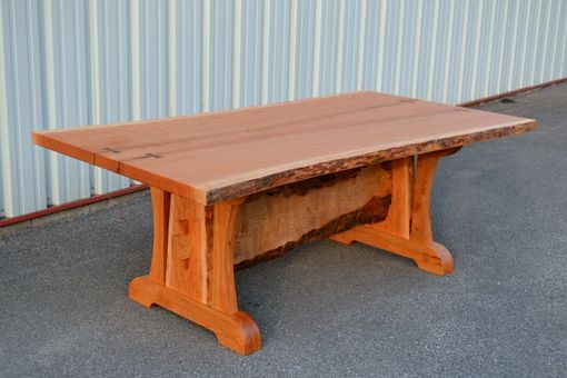 Custom Made Live Edge Cherry Dining Table With Live Edge Trestl