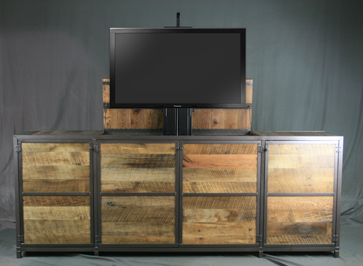 Custom Made Vintage Modern Tv Lift Cabinet. Electronic Media Console With Lift. Rustic Entertainment Center.