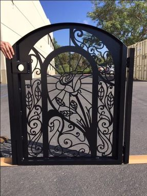 Custom Made Rose And Swan Modern Urban Design Steel Pedestrian Gate
