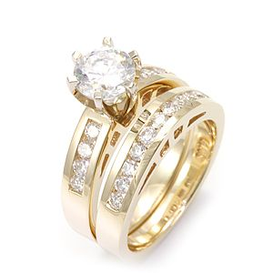 Custom Made Round Diamond Ring And Matching Band In 14k Yellow Gold, Wedding Set/Rings