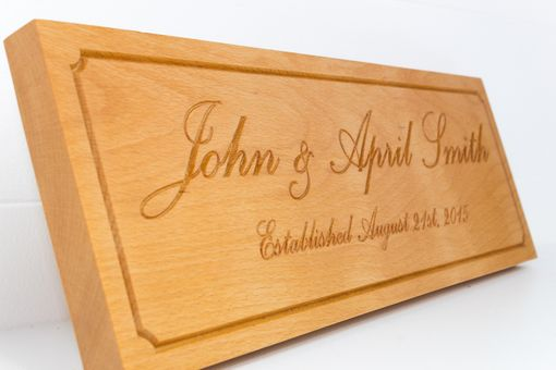 Custom Made Couple Established Sign On Beech Wood