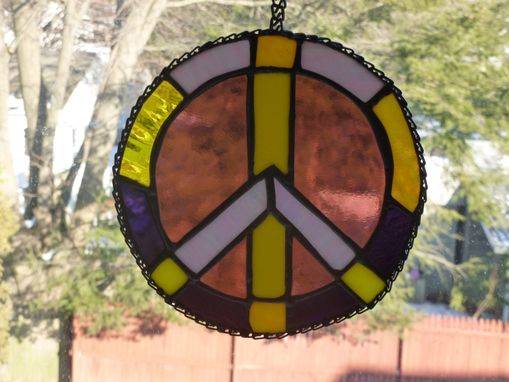 Custom Made Multicolored Stained Glass Peace Sign