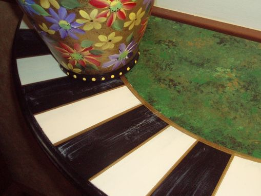 Custom Made Hand Painted Black And White Checked Half Round Table - Green Gold - Buttercream Gold