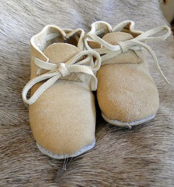Custom Made Custom Braintan Leather  Baby Moccasin Booties