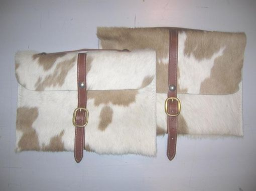 Custom Made Laptop Case Tan Hair-On Cowhide