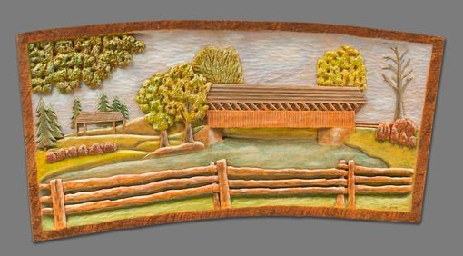 Custom Made Low Relief Carving Of A Covered Bridge