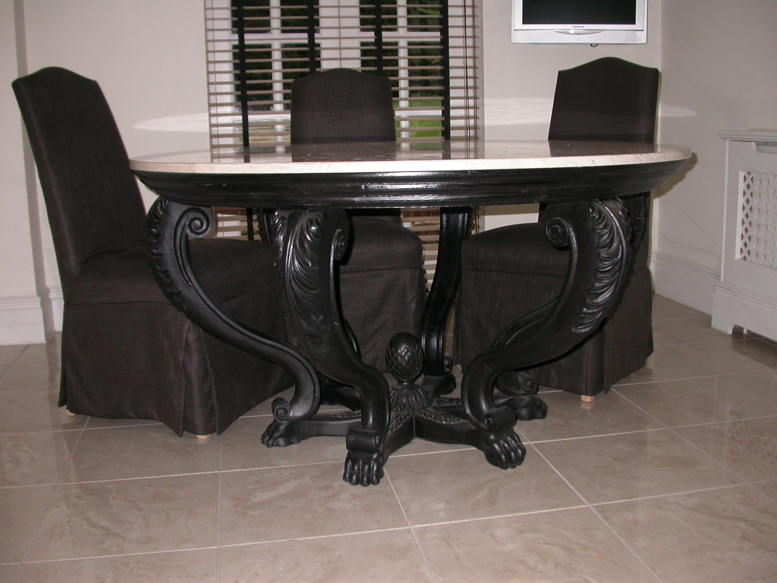 Custom Made Carved Period Contemporary Round Table By Woodcarvers