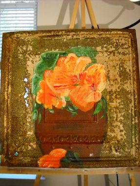 Custom Made Antique Ceiling Tin Painting