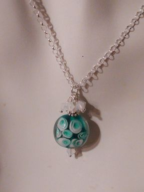 Custom Made Aqua And White Lampworked Glass Pendant In Sterling Silver With Swarovski Crystals
