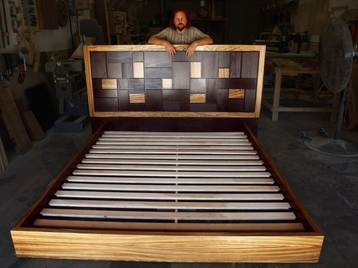 Custom Made Patterned Bed Headboard W/ Zebrawood Frame