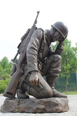 Custom Made Bronze Life-Size Kneeling Soldier Monument