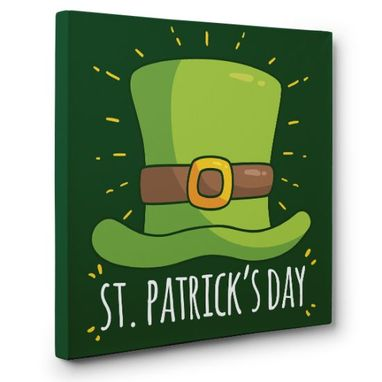 Custom Made Happy St. Patrick'S Day Hat Canvas Wall Art