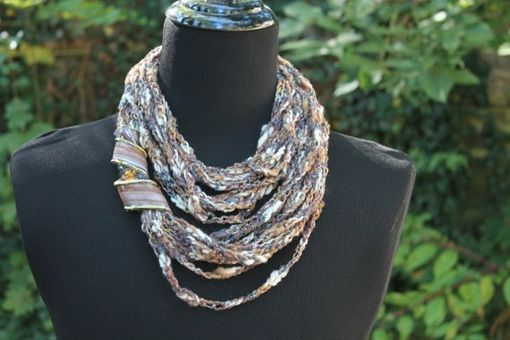 Custom Made Granite Glitter - Womens Scarf, Mixed Fiber Neck Wrap/Twist With Jewelry Accent Closure