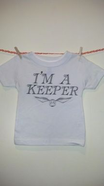Custom Made Sale Harry Potter Inspired I'M A Keeper And Golden Snitch Shortsleeve Shirt, White 12 Months