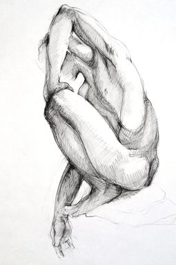 Custom Made Charcoal On Paper- Perching Figure