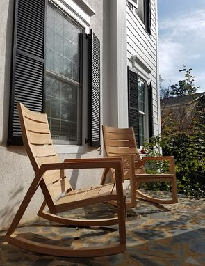 Custom Made Contemporary Modern Teak Rocking Chair - Indoor/Outdoor