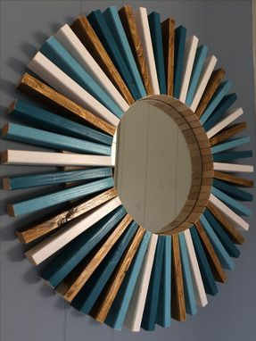 Custom Made Round Wall Mirror Multi-Colors Wood Frame 26""