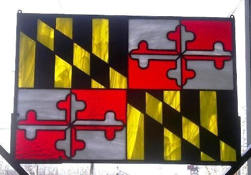 Custom Made Stained Glass Panel / Sun Catcher / Maryland Flag (R-35)