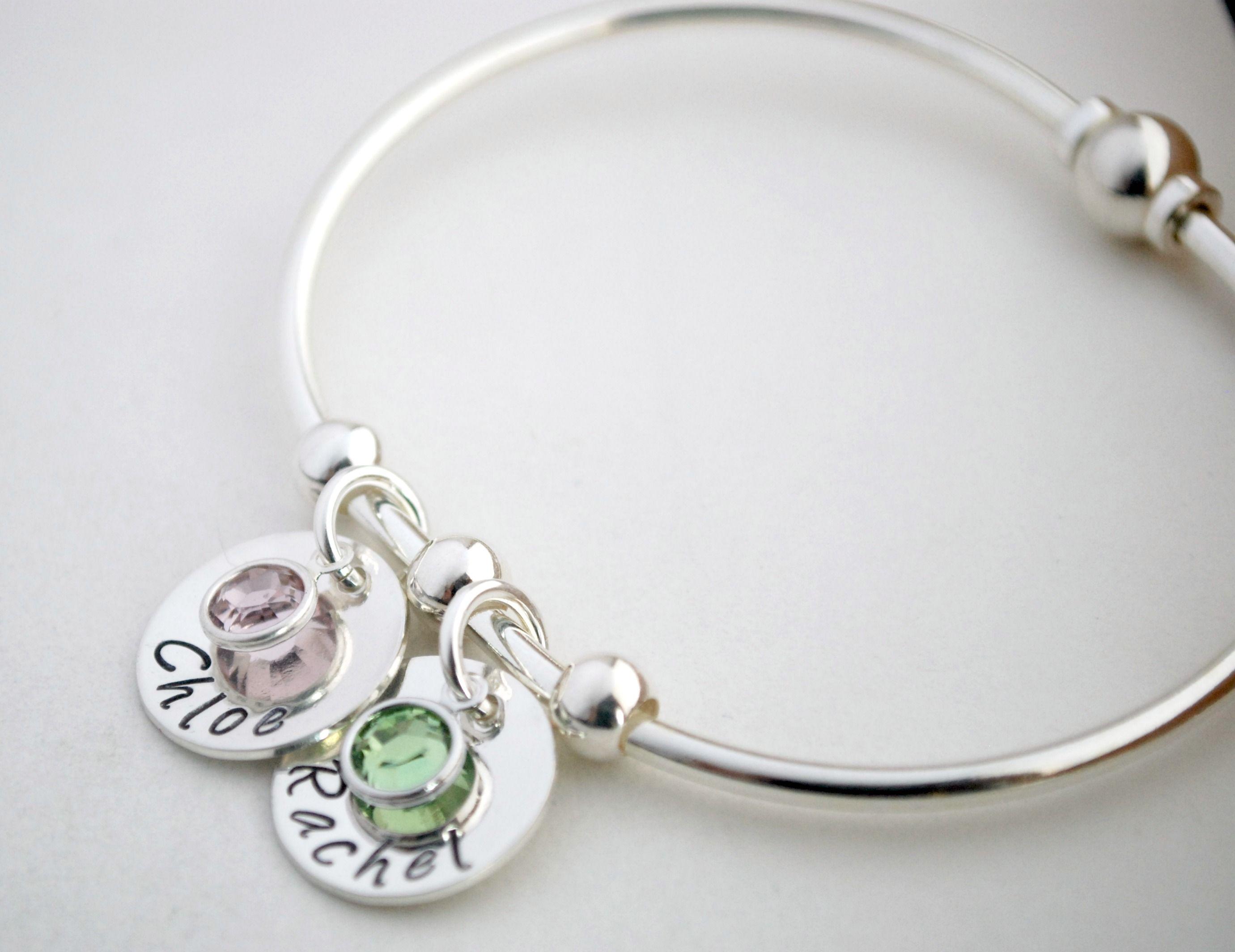 buy hand made bangle bracelet with custom names sterling. Black Bedroom Furniture Sets. Home Design Ideas