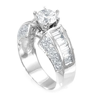 Custom Made Baguette And Round Diamond Engagement Ring In 18k White Gold, Proposal Ring