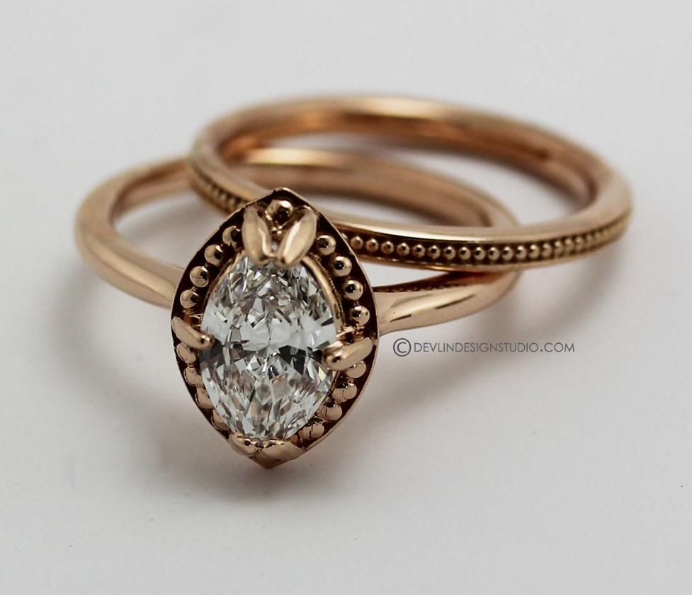 custom made engagement ring marquise diamond rose gold - Custom Made Wedding Rings