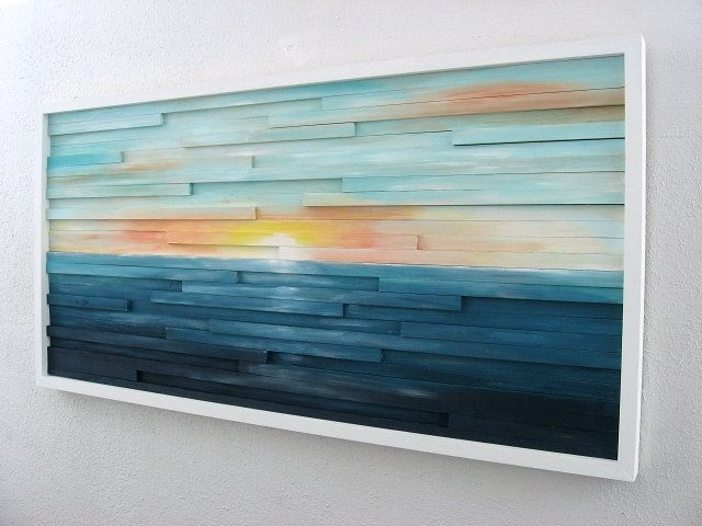 Buy a hand made abstract lanscape painting wood wall art for Mural on wood