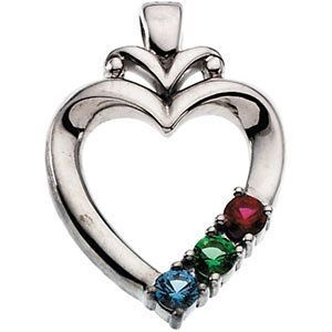 Custom Made Mother's Heart Pendant With Birthstones