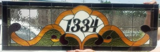 "Custom Made Stained Glass Transom With Address Marker / ""Victorian Ribbons"" (Am-50)"