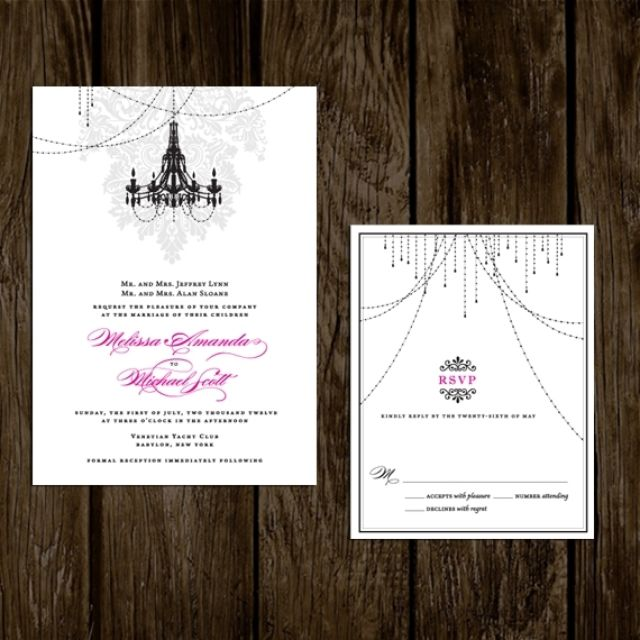 Custom Made Wedding Invitations Damask Chandelier by Lano Design Studio | CustomMade.com