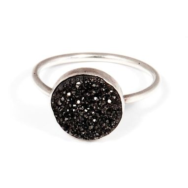 Custom Made Sparkly Black Druzy And Sterling Silver Ring