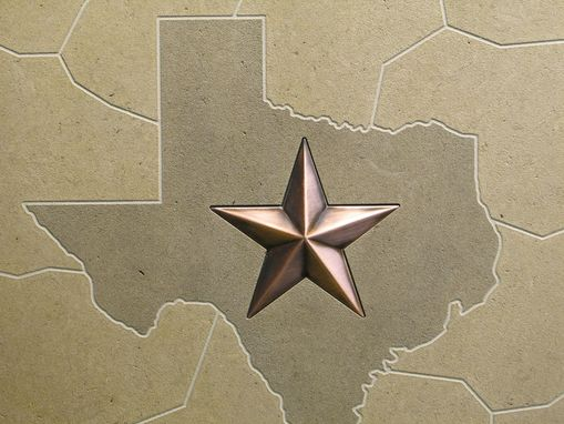 Custom Made Limestone Texas Mosaic Tile With Inset Copper Plated Metal Star