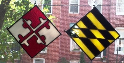 Custom Made Stained Glass Hanging Panels- Maryland Flag -D-8
